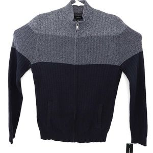 Alfani Mens Cardigan Navy Gray Color Block Pockets
